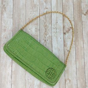 Antonio Melani Snakeskin Printed Leather Bag Green